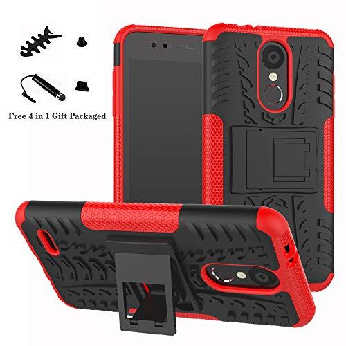 LiuShan LG K8 / K9 2018 Funda, Heavy Duty Silicona Híbrida Rugged Armor Soporte Cáscara de Cubierta Protectora de Doble Capa Caso para LG K8 / K9 2018 Smartphone,Rojo