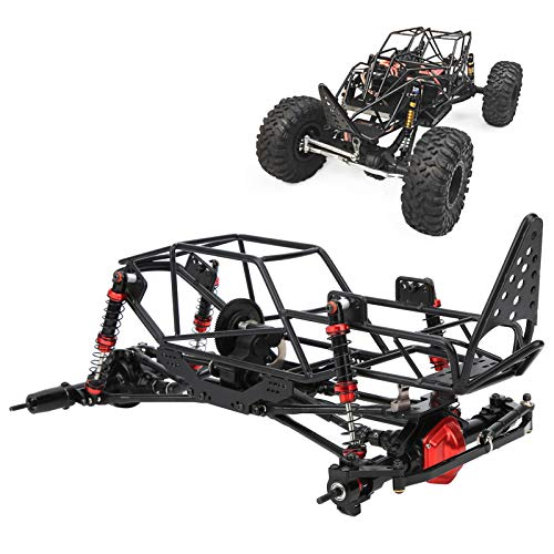 1/10 RC Car Roll Cage Kit, Metal RC Crawler Chassis Frame Kit con caja de cambios, ejes delantero y trasero, Black RC Truck Body Roll Cage Frame para AXIAL: SCX10 90022 90027