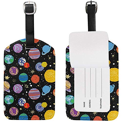 Simpatico pianeta Doodle Universo Etichette per bagagli Borsa in Pelle PU Etichetta per valigie