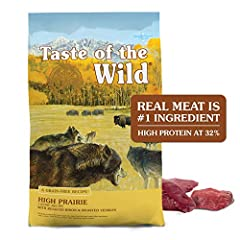 Taste of the Wild High Prairie with ROASTED BISON & VENISON REAL MEAT is #1 ingredient optimal amino acid profile & protein rich for LEAN STRONG MUSCLES High protein ingredients with added vitamins & minerals fruits and vegetables as SUPERFOODS for h...