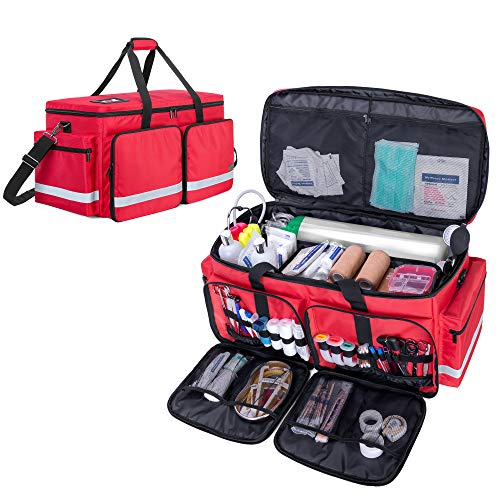 Trunab Emergency Medical Duffle Bag Empty with Compartment for Oxygen TankM2M22 First Responder Trauma Bag with Reinforce Bottom Board for Sport Team Community Volunteer Red Patented Design