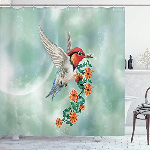WOOR Two Little Birds Hummingbirds On Red Flowering Shower Curtain Bathroom Home Decor Set Fabric Polyester Washable Waterproof,60 by 72 Inch