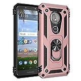 BestST Funda Motorola Moto E5 / G6 Play con Anillo Soporte, con HD Protectores de Pantalla, Rugged TPU y PC Cubierta de Doble Capa Hybrid Carcasa y 360 °Rotación Kickstand 2 en 1 Case. Rose-Oro