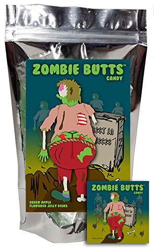 Zombie Butts Candy - Green Apple Fruit Jellies - Funny Easter Basket Candy Gag Birthday Girl, Boy and Teens Gift