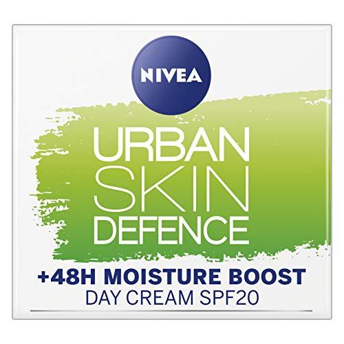 NIVEA Daily Essentials Urban Skin Defence +48H Moisture Boost Day Cream (50ml), Day Face Cream Moisturiser SPF 20, Contains Anti-oxidant & Bio Green T