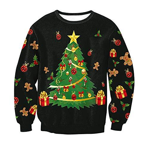 Shujin Winter Unisex Herren Damen Weihnachtspulli Weihnachtspullover Rundhals Langarmshirt mit Weihnachtsmotiv Druck Loose Jumper Sweatshirt Oberteile