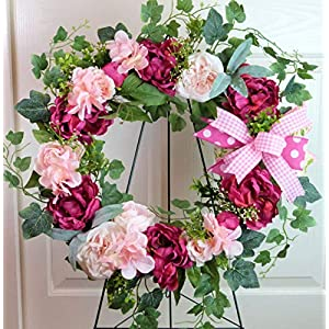 Spring Cemetery Wreath with Peonies, Cemetery Wreath Mother's Day, Easter Grave Wreath