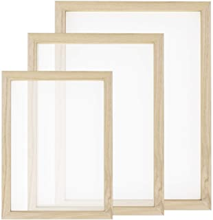 Worown 3 Size Wooden Paper Making Mould Frame Papermaking Screen for DIY Paper Craft and Dried Flower Handcraft