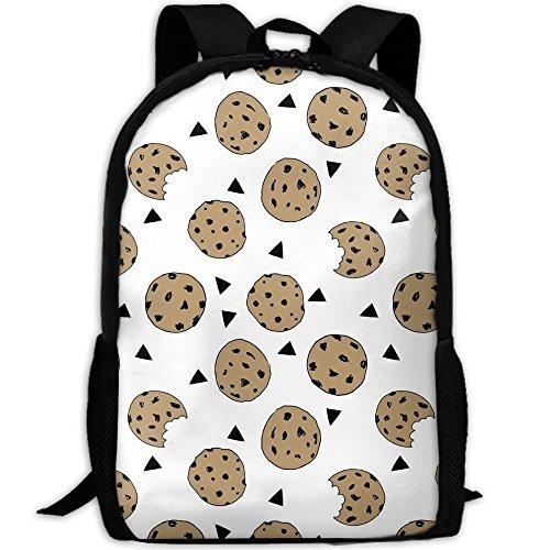 fsfsdafsaBags Cookies Food Chocolate Chip Biscuits 3D Print Sac à DOS de Voyage College School Laptop Bag Daypack Travel Shoulder Bag for Unisex