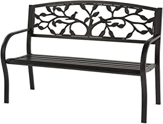 Plow & Hearth Tree of Life Metal Garden Bench, Sturdy, Powder-Coated Steel Frame, Full-Size, Indoor/Outdoor, Easy Assembly...