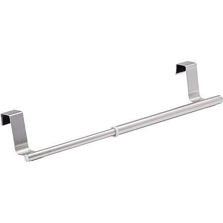 WENKO Porte-serviettes à suspendre télescopique - extensible, Acier inoxydable, 22-35 x 6 x 7 cm, Argent mat
