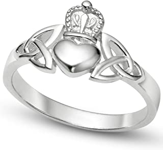Metal Factory Nickel Free Sterling Silver Irish Claddagh Friendship and Love Band Celtic Ring w/Trinity Symbols