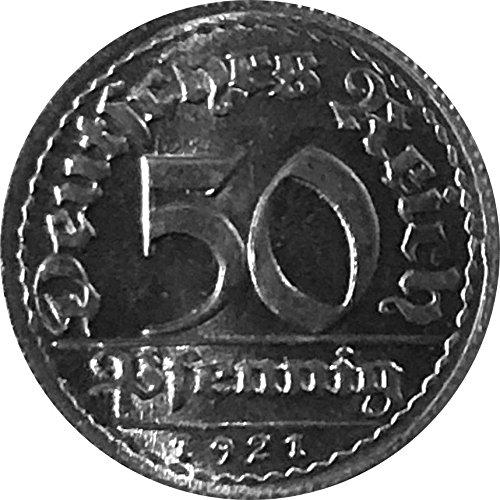 Münzen 50 Pfennig Deutschland, 1921 D (Jäger: 301) Stempelglanz