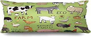 Ahawoso Zippered Body Pillow Cover 20x60 Inches Farm Turkey Animals Food Sheep Pattern Baby Nature Drawing Milk Doodle Graphic Wildlife Pig Set Decorative Cushion Case Home Decor Pillowcase