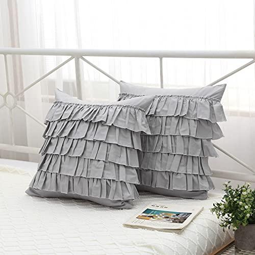 Meaning4 Kissenbezüge, hellgrau, mit Wasserfall-Rüschen, 5 Lagen, quadratisch, grau, ägyptische Baumwolle, 45,7 x 45,7 cm, 2 Stück