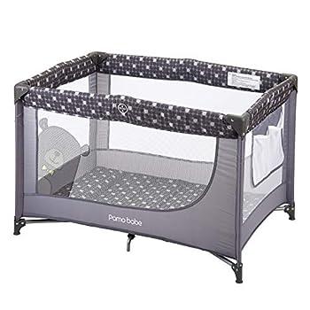 Pamo Babe Comfortable Playard,Sturdy Play Yard with Mattress Grey