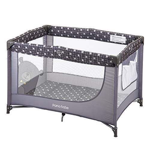 Read About Comfortable Playard,Sturdy Play Yard with Mattress (Grey)