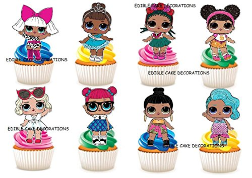 30x LOL Puppen Zeichen Party Stand Up Essbare Papier Cupcake Topper Kuchen Dekorationen