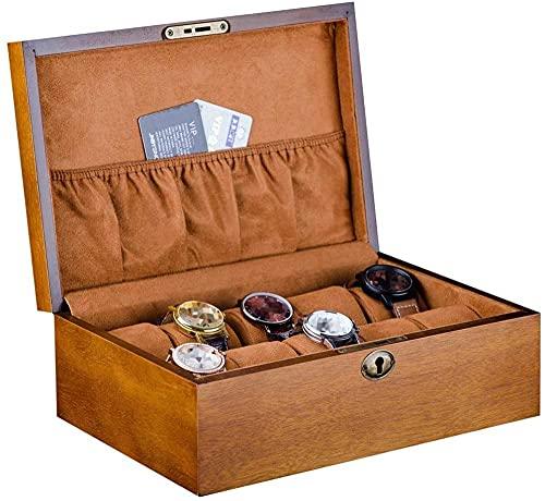 Caja de exhibición de madera para reloj de madera maciza, caja de almacenamiento de joyas con cierre hermoso 10 relojes de almacenamiento y almohada desmontable