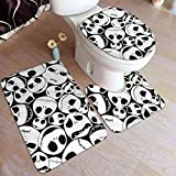 XCNGG Juego de alfombras de tres piezas Bath Mats 19.5x31.5in Bathtub Mats Set 3 Piece Jack Skellington Skulls Bathroom AntiSkid Pad Memory Foam Toilet Rug (Rectangular Carpet+UShaped Floor Mat+OShape