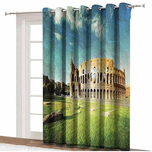 Cortinas opacas con aislamiento térmico y aislamiento térmico, para puerta de cristal corredera de patio, decoración vintage, para la puesta del sol en el Coliseo Histórico de Roma