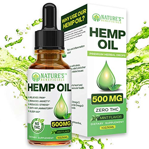 Organic Hemp Oil 500MG - Ultra Premium Pain Relief Anti-Inflammatory, Stress & Anxiety Relief, Joint Support, Sleep Aid, Omega Fatty Acids 3 6 9, Non-GMO Ultra-Pure & CO2 Extract Drops