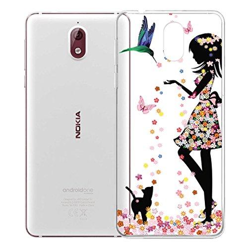 IJIA Hülle Hülle für Nokia 3.1 2018, Transparente Marmormuster Natürliche Elfenbein Weiß TPU Weich Silikon Stoßkasten Cover Handyhülle Schutzhülle Schale Hülle Tasche für Nokia 3.1 2018 (5.2