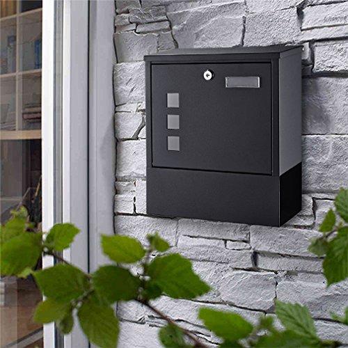 WOOHSE Briefkasten Wandbriefkasten Postkasten mit integriertem Zeitungsfach, Namensschild, 3 Sichtfenster, 2 Schlüsseln, aus Edelstahl, Maße: 30 x 33 x 8,5 cm (BxHxT), Schwarz