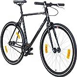 Galano 700C 28 Zoll Fixie Singlespeed Bike Blade 5 Farben zur Auswahl, Rahmengrösse:59 cm, Farbe:schwarz/schwarz