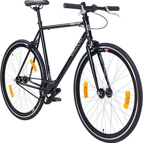 Galano 700C 28 Zoll Fixie Singlespeed Bike Blade 5 Farben zur Auswahl, Rahmengrösse:53 cm, Farbe:schwarz/schwarz