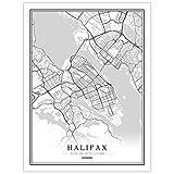 Leinwand Bild,Kanada Halifax Stadtplan Moderne Schwarz-Weiß-Kunst Minimalistische Malerei Poster Wandbild Wohnzimmer Cafe Zimmer Vertikale Einfache Dekoration, 50 × 70 cm