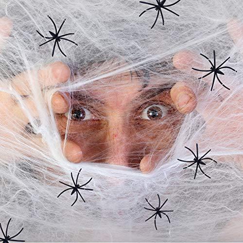 Joyjoz Ragnatela Halloween, set ragnatela finte 1000 piedi quadrati con 12 ragni falsi per Halloween decorazioni