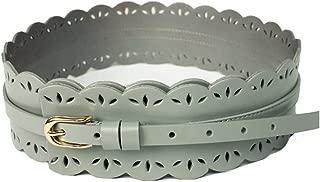LUKEEXIN Ladies Leather Waist Wide Belt Simple Hollow Carving Flower Pin Buckle Belt Genuine Leather Wide Waist Windbreaker (Color : Green, Size : 90cm)