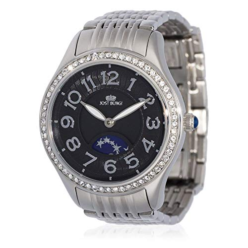 Reloj Jost Burgi para mujer, cuarzo – 33 mm – Esfera negra – Correa de acero plateado – HB4A10C1BM1