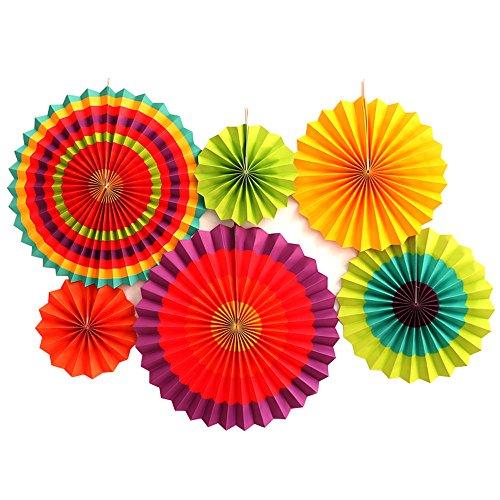 ipalmay couleurs vives colorées à suspendre Papier Ventilateurs pour décoration de fête d'anniversaire de mariage et maison, lot de 6 - 3 Set
