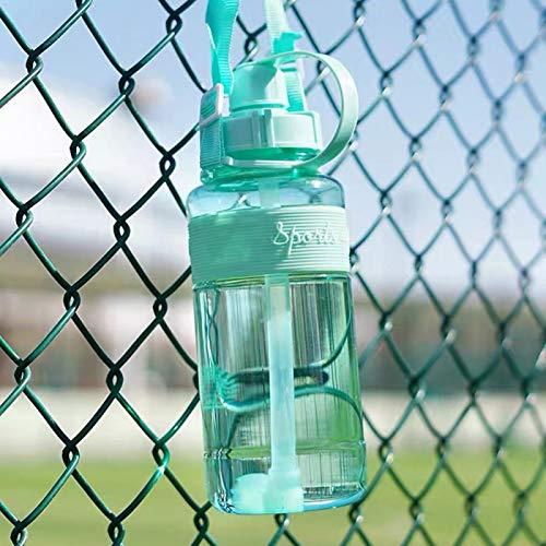 Anwangda Botella de agua portátil de viaje con pajita, botella deportiva con pajita, botella de agua portátil motivacional adecuada para deportes diarios, al aire libre (verde, tamaño: 1000 ml)