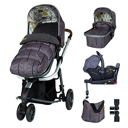 Cosatto Giggle 3 Pram Pushchair Everything Travel System Bundle – From Birth to 18kg, RAC Port i-Size Car Seat, Adaptors, ISOFIX Base, Footmuff & Bag (Fika Forest)