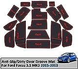 Ranura de la puerta del coche alfombrilla de goma Mats Sólo for Ford Focus 3 /3.5 MK3 / ST RS / 2015-2018 antideslizante Puerta interior del cojín Decoración conjunto de reemplazo ( Color : Azul )