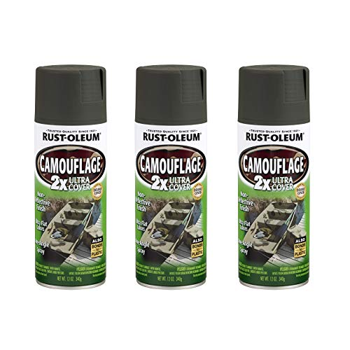 Rust-Oleum 279175A3 Camouflage 2X Ultra Cover Spray Paint, 3 Pack, Deep Forest Green, 3 Count