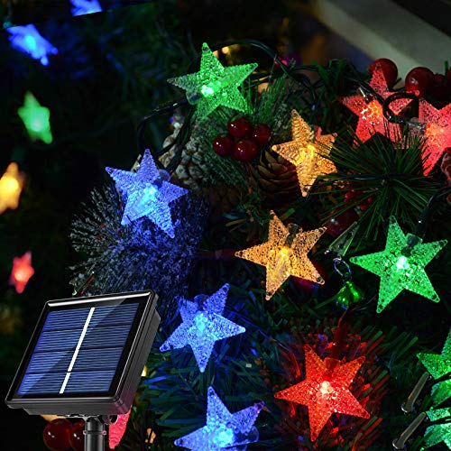 Homeleo Multicolored Outdoor Christmas Tree Lights, Solar Powered Star String Lights for Holiday Patio Pathway Garden Yard Fence Wall House Roof Line Decorations