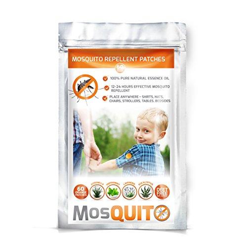 Repelente de mosquitos–Parche paquete 60–Natural, no tóxico, deet-free–24H protección 100{68d2c5604203bf934494693bf308edc70a9a7674ddcd30e048ada615a36c0372} puro aceite esencial–el compañero ideal para exteriores