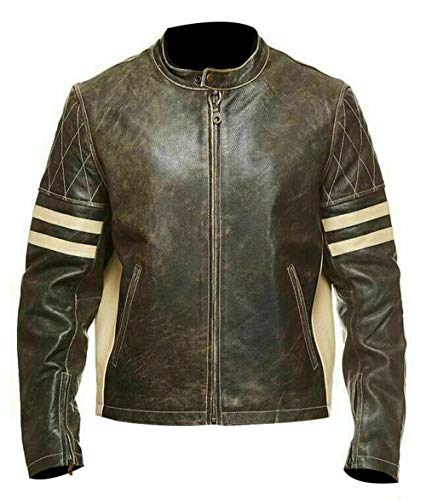 Men Heavy Duty Motorcycle Biker Cafe Racer Premium Leather Jacket