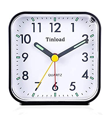 Tinload Small Battery Operated Analog Alarm Clock Silent Non Ticking, Ascending Beep Sounds, Snooze,Light Functions, Easy Set