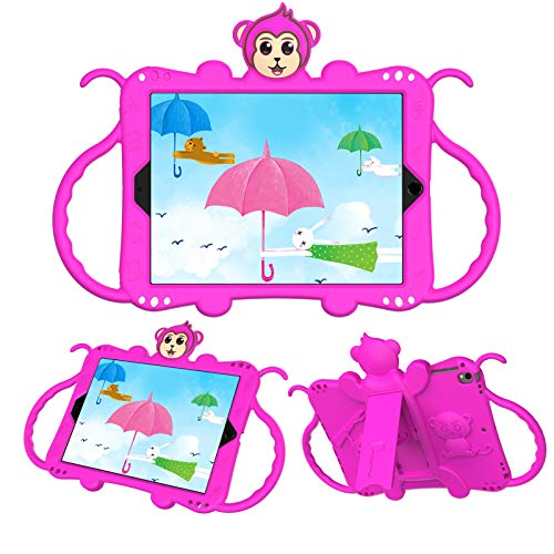 JCTek Protective Kids Case for Suitable for iPad Air/iPad Air 2 Case (9.7'), Cute Cartoon Monkey Shockproof Handle Stand Shoulder Strap Kids Case (rose)