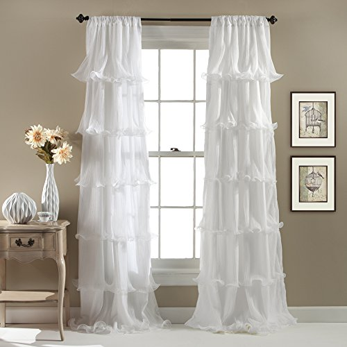 Lush Decor Nerina Curtain Sheer Ruffled Textured Window Panel for Living, Dining Room, Bedroom (Single), 84 by 54-Inch, White
