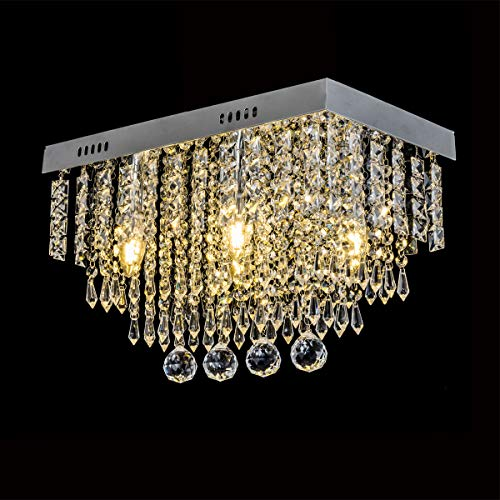 Lampadari di cristallo moderni, Plafoniere Rettangolare a LED in Cristallo, lampadari a LED da incasso per sala da pranzo, camera da letto, soggiorno L45cm W25cm H28cm