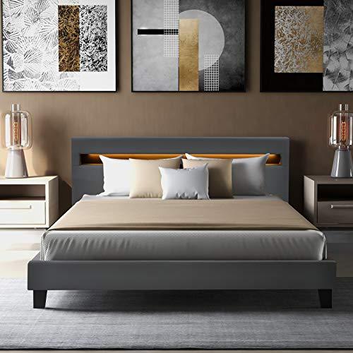 NZXVSE LED Polsterbett Paris 140 × 200 cm mit Matratze und Lattenrost,LED Polsterbett Lattenrost,Kunstleder Bezug & Holz Gestell in grau,inkl.LED-Beleuchtun