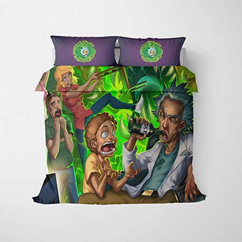 MMYANG Rick and Morty UFO Duvet Cover Set with Pillow Case (Polyester), Multicoloured, for Single Bed (4.140 x 210 cm)