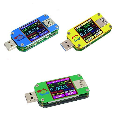 Probador USB, UM24C Probador LCD de pantalla a color USB Probador de voltaje USB Corriente con multímetro Bluetooth Probador multifunción