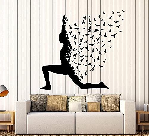 Adhesivo decorativo para pared, diseño de pájaros, yoga, meditación, estilo de vida saludable, decoración de estilo de vida, color negro